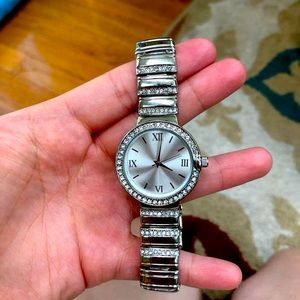 New Charter Club Silver Tone Crystal Watch